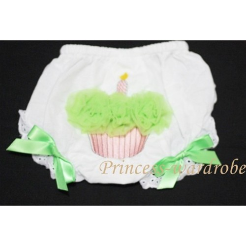White Bloomer & Lime Green Cupcake With Lime Green Bow BC49