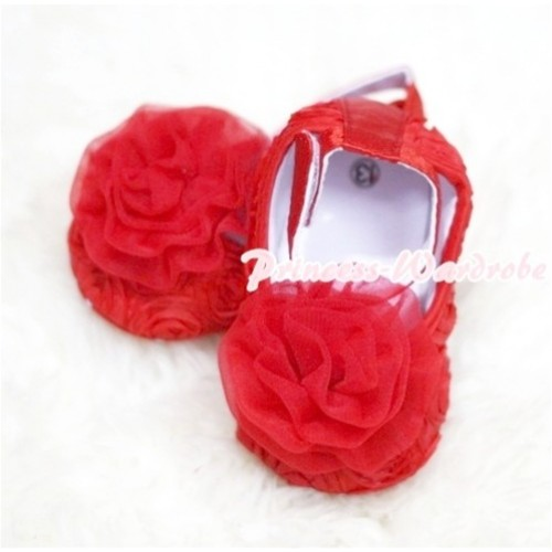 Baby Red Crib Shoes with Red Rosettes S121