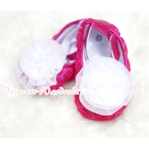 Baby  Hot Pink Crib Shoes with  White Rosettes S124