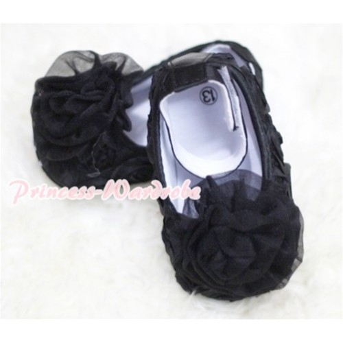 Baby Black Rosettes Crib Shoes with Black Rosettes S126