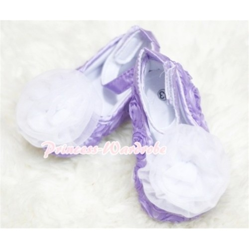 Baby Lavender Crib Shoes with White Rosettes S129