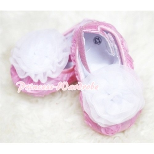 Baby Light Pink Crib Shoes with White Rosettes S131