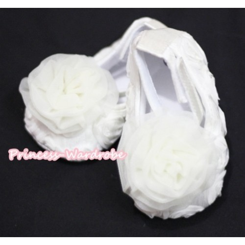 Baby White Crib Shoes with Cream White Rosettes S133