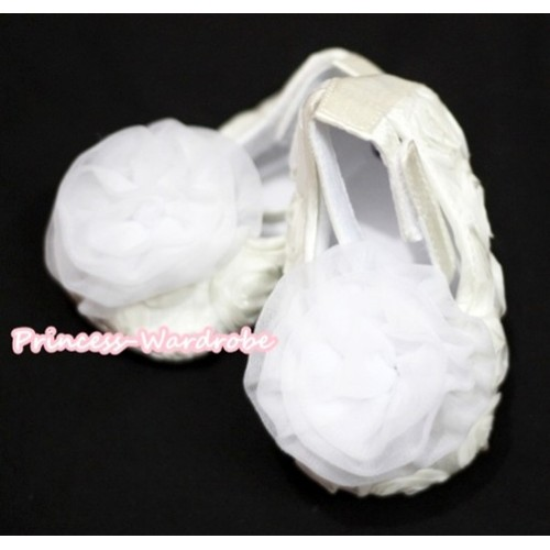 Baby White Crib Shoes with White Rosettes S134
