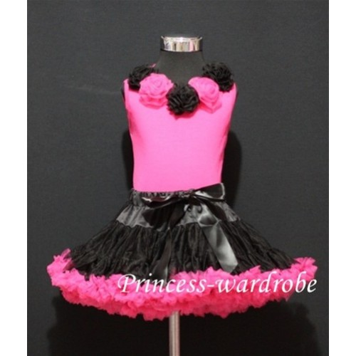 Black Hot Pink Pettiskirt Matching Hot Pink Tank Tops with Black Hot Pink Rosettes MH03