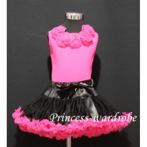 Black Hot Pink Pettiskirt with matching Hot pink Tank Tops with hot pink Rosettes mh17