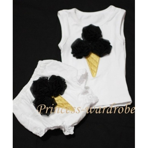 Black Ice Cream Panties Bloomers with White Baby Pettitop with black Ice Cream BC50