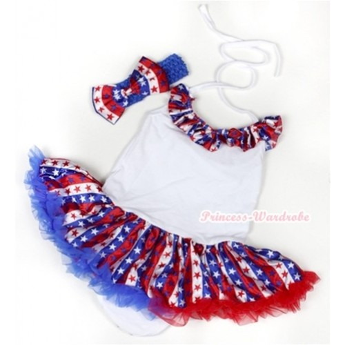 White Baby Halter Jumpsuit Red White Royal Blue Striped Stars Pettiskirt With Red White Royal Blue Striped Stars Satin Lacing With Royal Blue Headband Red White Royal Blue Striped Stars Satin Bow JS1042