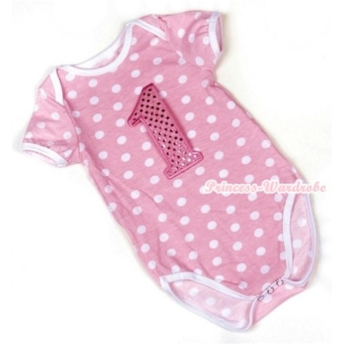 Light Pink White Polka Dots Baby Jumpsuit with 1st Sparkle Light Pink Birthday Number Print TH347