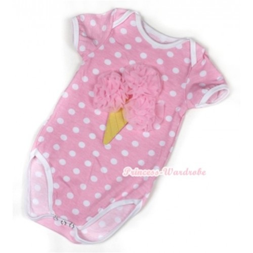 Light Pink White Polka Dots Baby Jumpsuit with Light Pink Rosettes Ice Cream Print TH353