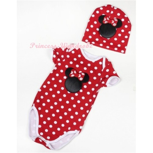 Minnie Polka Dots Baby Jumpsuit with Minnie Print with Cap Set JP36