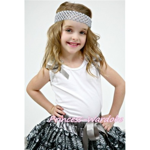 Grey Ruffles with Grey Bow White Tank Top T350