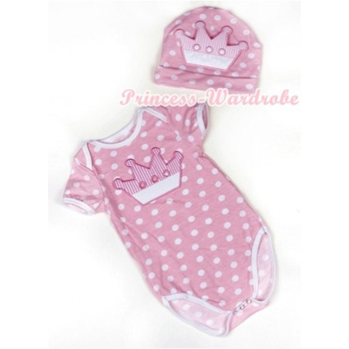 Light Pink White Dots Baby Jumpsuit with Crown Print with Cap Set JP40