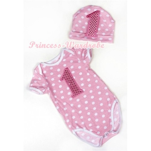Light Pink White Dots Baby Jumpsuit with 1st Sparkle Light Pink Birthday Number Print with Cap Set JP41