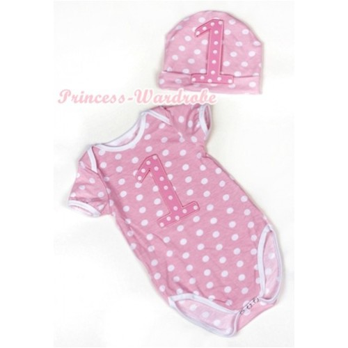 Light Pink White Dots Baby Jumpsuit with 1st Light Pink White Dots Birthday Number Print with Cap Set JP42