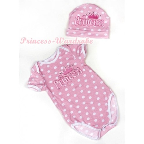 Light Pink White Dots Baby Jumpsuit with Princess Print with Cap Set JP43