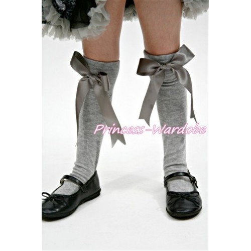 Grey Cotton Stocking with Grey Ribbon SK61