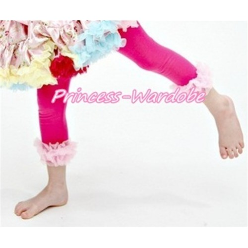 Hot Pink Cotton Leggings Trousers with Pink Ruffles TU23