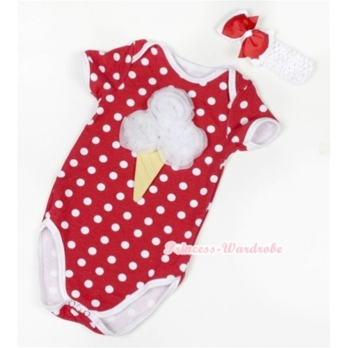 Minnie Polka Dots Baby Jumpsuit with White Rosettes Ice Cream Print With White Headband Red White Ribbon Bow TH367
