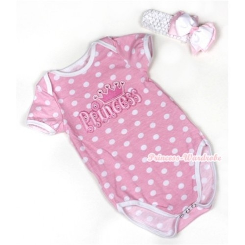 Light Pink White Polka Dots Baby Jumpsuit with Princess Print With White Headband White & Light Pink White Dots Ribbon Bow TH374