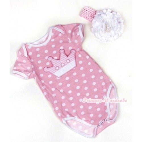 Light Pink White Polka Dots Baby Jumpsuit with Crown Print With Light Pink Headband White Peony TH376
