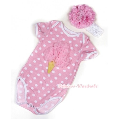 Light Pink White Polka Dots Baby Jumpsuit with Light Pink Rosettes Ice Cream Print With White Headband Light Pink Peony TH379