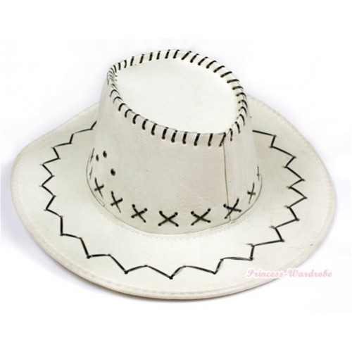 Ivory Cream White Leather Western Cowboy Wide Brim Hat H702