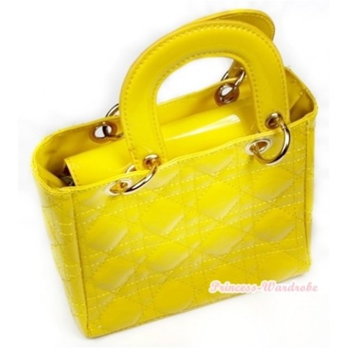 Lovely Ring Square Yellow Checked Cute Handbag Petti Bag Purse CB68
