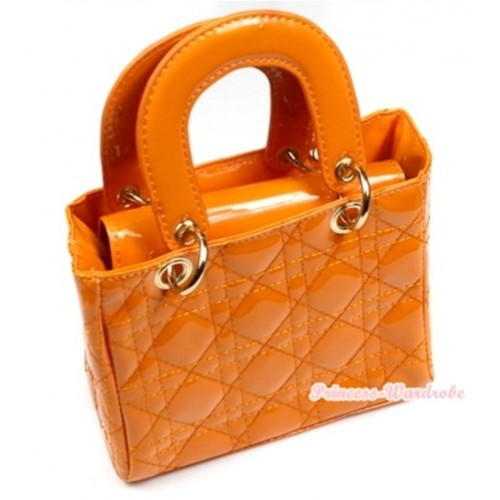 Lovely Ring Square Orange Checked Cute Handbag Petti Bag Purse CB69