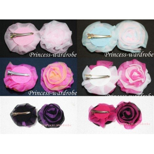 Mixed color Rosettes Chiffon Flower for Pettiskirt Hair Clip, Headband, Hat H113