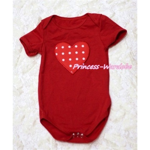 Hot Red Baby Jumpsuit with Red White Polka Dots Heart Print TH111