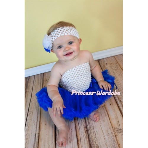 White Crochet Tube Top with Royal Blue Baby Pettiskirt CT99