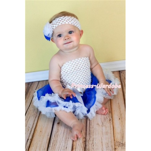 White Crochet Tubetop with Blue White Baby Pettiskirt CT100
