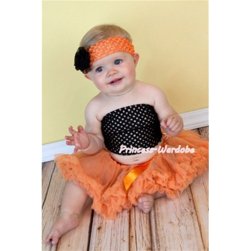 Black Crochet Tube Top with Orange Baby Pettiskirt CT102
