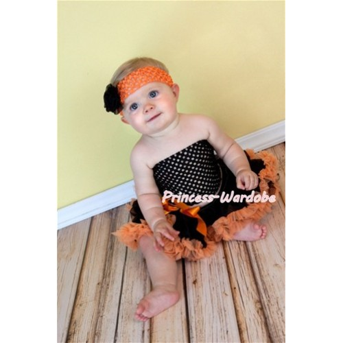 Black Crochet Tube Top with Black Orange Baby Pettiskirt CT103