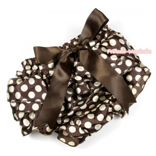 Brown Golden Polka Dots Satin Layer Panties Bloomers With Brown Big Bow BC146