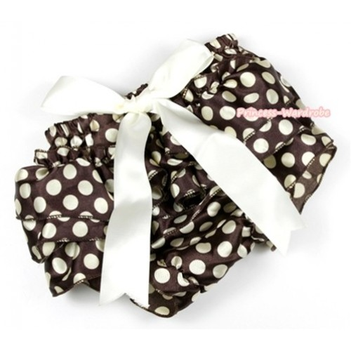 Brown Golden Polka Dots Satin Layer Panties Bloomers With Cream White Big Bow BC147