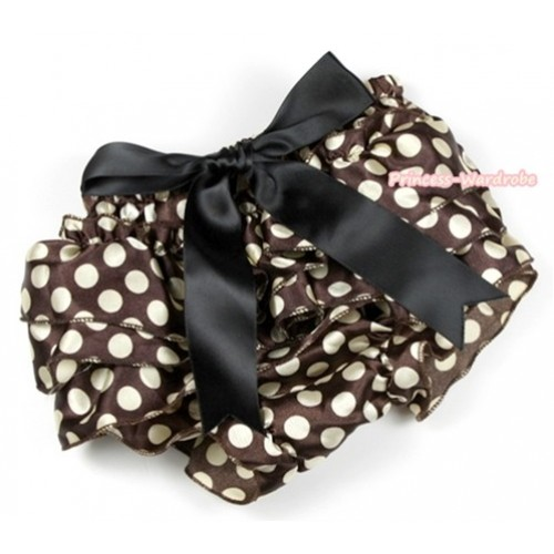 Brown Golden Polka Dots Satin Layer Panties Bloomers With Black Big Bow BC148