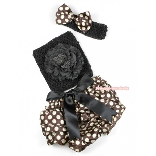 Black Big Bow Brown Golden Polka Dots Satin Bloomer ,Black Peony Black Crochet Tube Top, Black Headband Brown Golden Polka Dots Satin Bow 3PC Set CT566