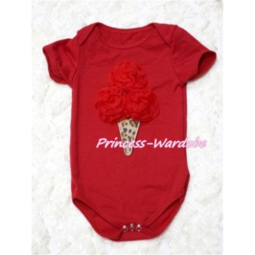 Hot Red Baby Jumpsuit with Red Rosettes Leopard Ice Cream Print TH122