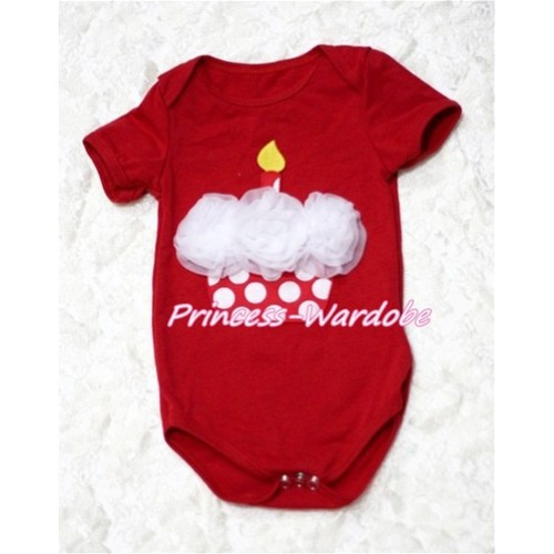 Hot Red Baby Jumpsuit with White Rosettes Minnie Dots Birthday Cake TH117