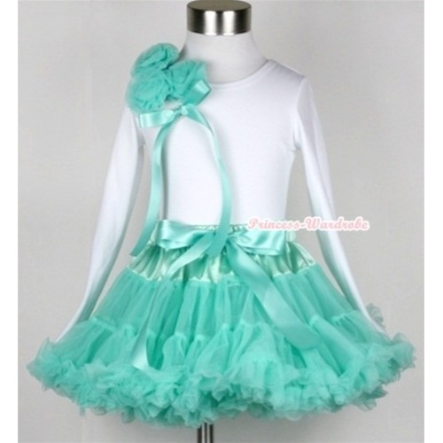 Aqua Blue Pettiskirt with Matching White Long Sleeve Top with Bunch of Aqua Blue Rosettes& Aqua Blue Bow MW156