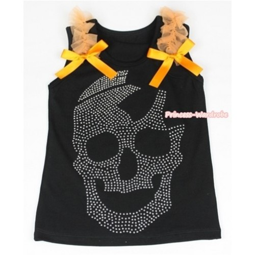 Black Tank Top With Orange Ruffles & Orange Bow With Sparkle Crystal Glitter Skeleton Print TB385