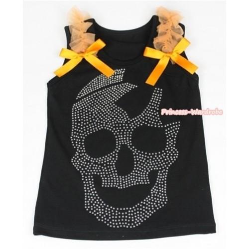 Black Tank Top With Orange Ruffles & Orange Bow With Sparkle Crystal Glitter Skeleton Print TB385