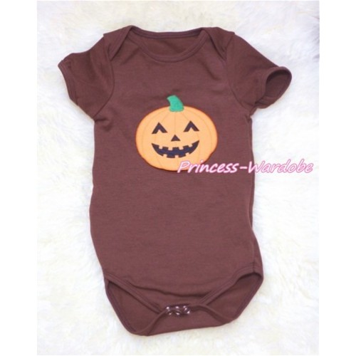Brown Baby Jumpsuit with Pumpkin Print TH130