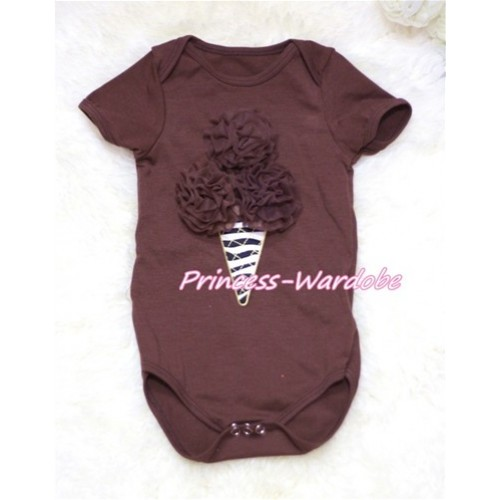 Brown Baby Jumpsuit with Brown Zebra Ice Cream Print TH132