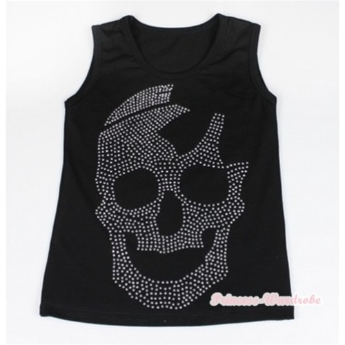 Black Tank Top With Sparkle Crystal Glitter Skeleton Print TB387