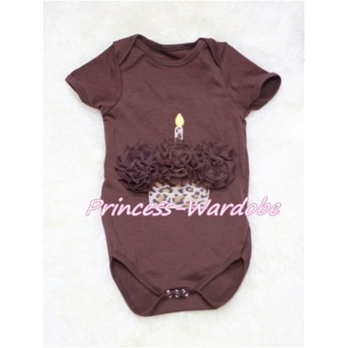 Brown Baby Jumpsuit with Brown Leopard Birthday Cupcake TH138