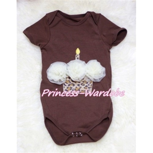 Brown Baby Jumpsuit with Cream White Leopard Birthday Cupcake TH139