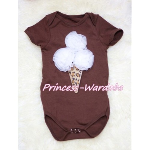 Brown Baby Jumpsuit with White Leopard Ice Cream TH143